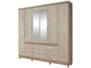 Guarda-roupa Casal com Espelho 6 Portas - 6 Gavetas Demóbile Paris II | R$ 800