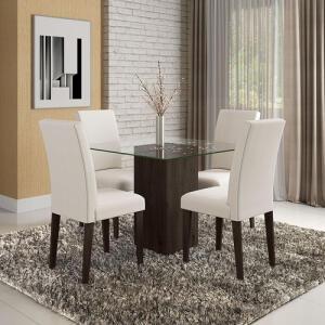[AME R$ 350] Conjunto Sala De Jantar Belize De Vidro 4 Cadeiras   R$ 699