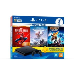 Console Playstation 4 Hits 1TB Bundle 15 - Games Spider-Man: Goty + Horizon Zero Dawn: Complete Edition + Ratchet&Clank