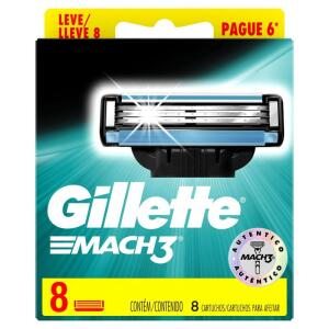 Carga Para Aparelho De Barbear Gillette Mach3 - Leve 8 Pague 6