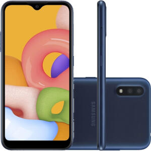 "Smartphone Samsung Galaxy A01 Dual Chip Android 10 Tela 5.7"" Octa-Core 32GB 4G Câmera 13MP- Azul - R$799"