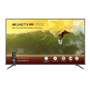 "Smart TV LED 50"" 4K TCL 50P8M com Android TV | R$1949"