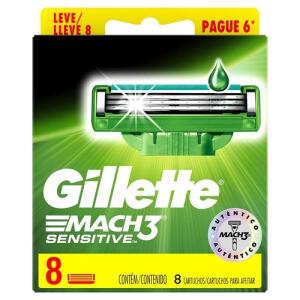 Carga Gillette Mach3 Sensitive Leve 8 Pague 6 | R$36