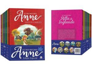 Kit 8 livros de Anne com marca página, cartão postal e diário