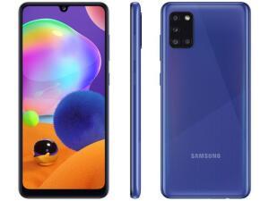 "Smartphone Samsung Galaxy A31 128GB Azul 4G - Octa-Core 4GB RAM Tela 6,4"" Câm.Quádrupla + Selfie | R$1499"