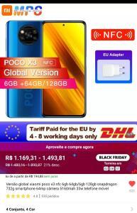 Celular Xiaomi Poco X3 NFC 6gb 64gb   R$1169