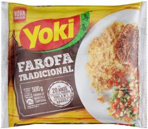 (PRIME   5unid - CADA R$3,59) Farofa Mandioca Temperada Yoki 500g
