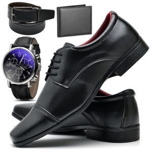 Kit Sapato Social Com Relógio Cinto Carteira Verniz Com Cadarço Top Flex R807MR Preto | R$ 99