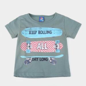Camiseta Bebê Pipa Keep Roling Masculina - Verde escuro R$8