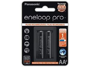 Pilha Recarregável Eneloop PRO AA (Pequena), Panasonic, Cartela com 2 unidades   R$70