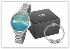Relógio Feminino Analógico Mondaine 32101L0MKNE3K1 com Pulseira – Prata   R$ 117