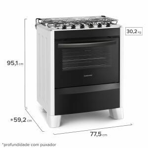 Fogão de Piso Branco 5 Bocas Automático com Mesa de Inox (FC5CB) - Bivolt | R$889