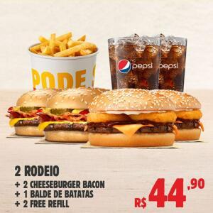 2 RODEIO + 2 CHEESEBURGER BACON + 1 BALDE DE BATATA + 2 FREE REFIL | R$45