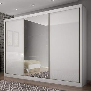 Guarda Roupa Casal com Espelho 3 Portas 8 Gavetas Spazzio Siena Móveis Branco | R$1.665