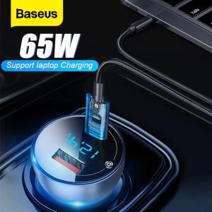 Baseus 65w carregador de carro carga rápida tipo c para iphone 12 - R$84