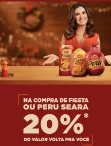 Cash Back Seara - 20% de volta na compra de Fiesta ou Peru Seara