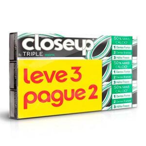 Kit Creme Dental Close Up Trip Menta 70g 3 Unidades R$3,99