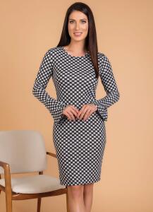 Vestido Moda Evangélica Xadrez com Mangas Longas - Rosalie R$25