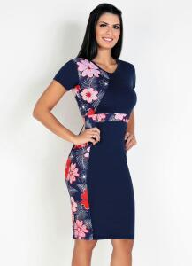 Vestido Moda Evangélica com Recortes Floral Azul - Rosalie R$30