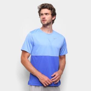 Camiseta Nike Dri-Fit Breathe Run Masculina - Azul Royal e Prata | R$50