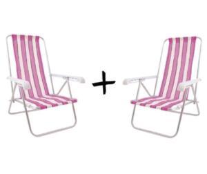 Kit com 2 cadeiras de praia 4 Posições Alumínio | R$ 113