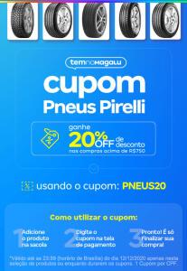 [Cupom 20% OFF] Pneus Pirelli | Magazine Luiza