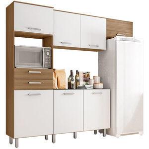 Cozinha Compacta 4 Peças Lia – Poliman - Carvalho / Branco | R$ 574