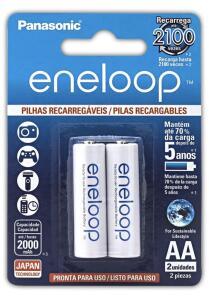 [PRIME] Pilha Recarregável Eneloop AA (Pequena), Panasonic, Cartela com 2 unidades R$48