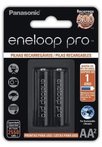 [PRIME] Pilha Recarregável Eneloop PRO AA (Pequena), Panasonic, Cartela com 2 unidades - R$66