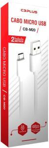 [PRIME] Cabo USB-Micro USB C3Plus 2M 2A Branco - CB-M20WH  R$11