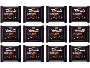 (R$3,49 unidade) Barra de Chocolate Talento Amêndoas Meio Amargo - 90g 12 Unidades (x2)
