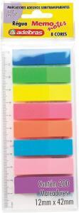 (Prime) Marcador de página adesivo Memonote, adelbras, 8 cores neon. Pacote com 200 | R$12