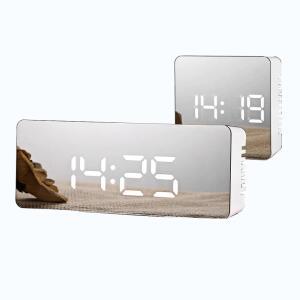 Despertador com Espelho Led e Relógio de Mesa Digital de Soneca | R$57
