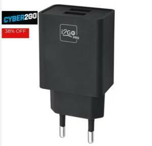 Carregador De Parede Com 2 Saídas USB I2GO Entrada 100-240V Saída 5V-3,4A Preto