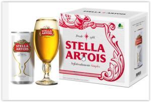 Kit para Presente STELLA ARTOIS - Exclusivo PÃO DE AÇÚCAR: 1 Cálice + 8 Latas de 269ml   R$ 20