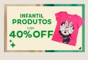 40% OFF em moda Infantil