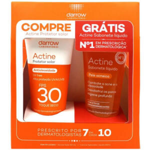 Protetor Solar Darrow Actine FPS 30 + sabonete líquido Antiacne 60ml | R$40
