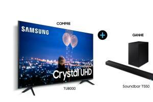 "Smart TV 65"" Crystal UHD 4K TU8000 + Soundbar Samsung HW-T550 | R$4275"