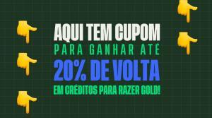 Cupom de 20% de Cashback Gift Card Razer Gold Limitado a R$10