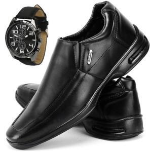 Sapato Conforto Social SapatoFran com Relógio Masculino - Preto | R$90