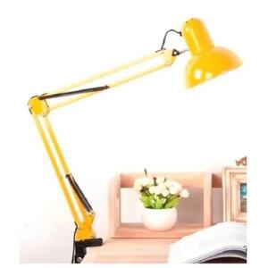 [R$63 com AME] Luminária Mesa Articulada garra Escritorio regulável 2 em 1 Leitura Base metal Articulavel amarela