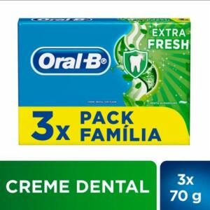 Creme Dental Oral-b Extra Fresh 70g Pack C/ 3 Unidades | R$7