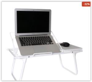 Mesa de Colo Dobrável para Notebook, Metaltru, Branco | R$ 142