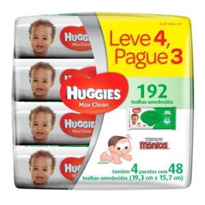 Toalhas Umedecidas Huggies Max Clean 192 Unidades - R$28