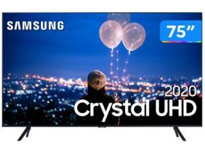 "Smart TV Crystal UHD 4K LED 75"" Samsung - 75TU8000 Wi-Fi | R$ 5595"
