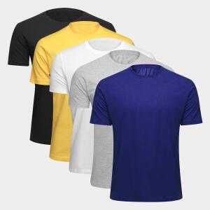 Kit Camiseta Básica c/ 5 Peças Masculina R$70