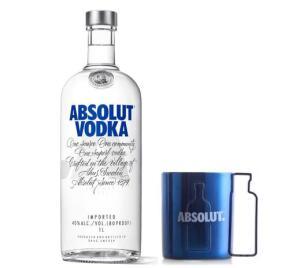 Kit Vodka Absolut Original 1L + Caneca Plastico 300ml - R$80