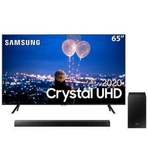 """Smart TV LED 65"""" UHD 4K Samsung 65TU8000 + Soundbar Samsung HW-T550 com 2.1 canais - 320W - R$4084"""