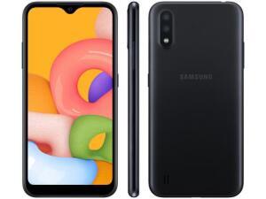 [APP + CLIENTE OURO] Smartphone Samsung Galaxy A01 PRETO 32 gb