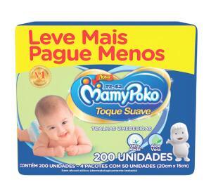[PRIME] Toalhas Umedecidas MamyPoko Toque Suave, 200 unidades R$22